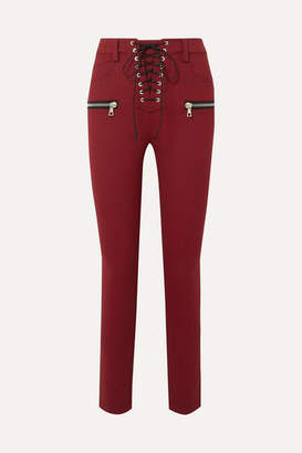 Unravel Project Lace-up Houndstooth Woven Skinny Pants - Red