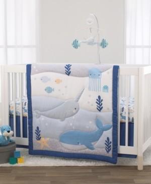 NoJo Underwater Adventure Narwhals 3-Piece Crib Bedding Set Bedding
