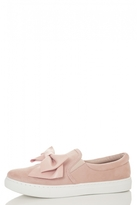 Quiz Pink Faux Suede Bow Skater Trainers