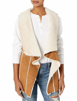 Cupcakes And Cashmere Women's tash Faux Suede and Fur Drape Front Vest