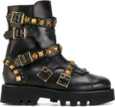 Fausto Puglisi Chunky Sole Leather Studded Boots