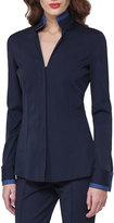 Akris Bicolor Stretch Poplin Shirt, Dark Blue