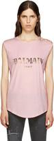 Balmain - T-shirt à logo rose