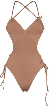 Frankie's Bikinis Meredith strappy backless swimsuit