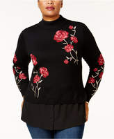 Style&Co. Style & Co Plus Size Embroidered Layered-Look Sweater, Created for Macy's