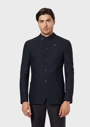 Giorgio Armani Single-Breasted Jacket In Warp-Knitted Technical Gaufre