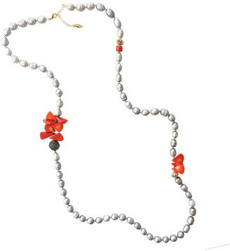 Farra Gray Freshwater Pearls With Floral Corals Multi-Way Necklace