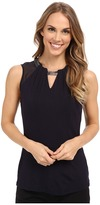 Adrianna Papell Scoop Neck Embroidery Neck Tank Top