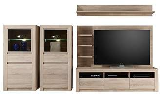 Camilla And Marc Furnline Living Room Furniture TV Stand Wall Unit, Sevilla Canadian Oak, Brown, 312 x 156 x 48 cm