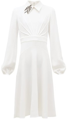 No.21 No. 21 - Brooch-collar Balloon-sleeve Crepe Dress - Womens - Cream