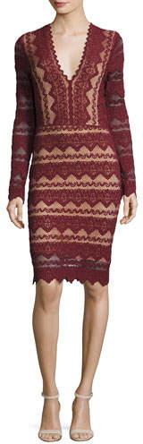 Nightcap Clothing Sierra Lace V-Neck Long-Sleeve Dress, Garnet