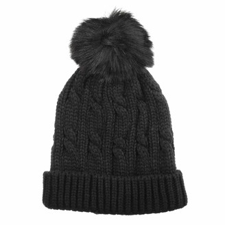 Isotoner Women's Knit Cold Weather Beanie Hat with Pom Pom Black