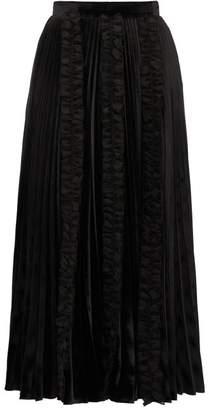 Christopher Kane Ruffle-trim Pleated Velvet Midi Skirt - Womens - Black
