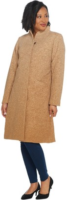 H by Halston Ombre Snap Front Faux Wool Coat
