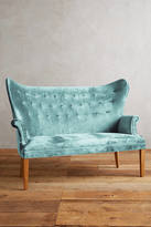 Anthropologie Slub Velvet Wingback Bench