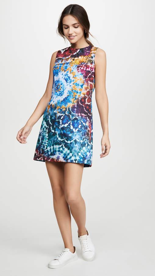 Alice + Olivia Coley Tie Dye Crew Neck Aline Dress