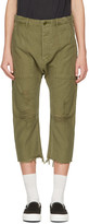 R 13 Green Ripped Utility Trousers