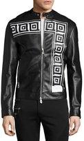 Versace Greek Key Leather Cafe Racer Jacket, Black