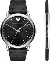 Emporio Armani Strap Watch And Leather Bracelet Gift Set
