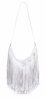 The Olive House Womens Fringe Slouch Leather Look Shoulder Handbag White