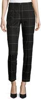 Elie Tahari Karis Windowpane Plaid Ankle Pants, Black Multi