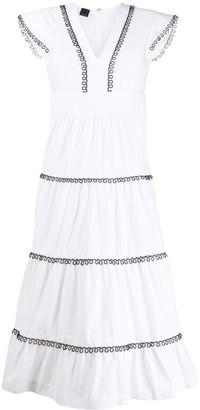 Pinko contrast trim V-neck dress