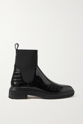 Loeffler Randall Bridget Croc-effect Patent-leather Chelsea Boots - Black