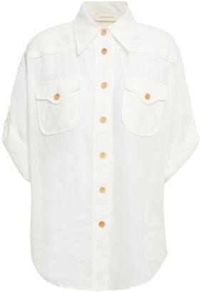 Zimmermann Super Eight Safari Printed Ramie Shirt