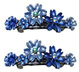 B.ella Set of 2 Flower Barrettes In Same Color, Medium Small Barrettes with French Clip Clasp YY86400-12-2blue