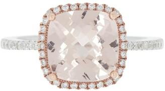 Meira T 14K Rose & White Gold Cushion Cut Morganite & Pave Diamond Halo Ring