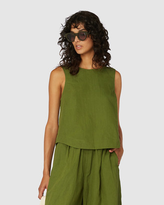 gorman Women's Green Singlets - Linen Tank - Size One Size, 6 at The Iconic