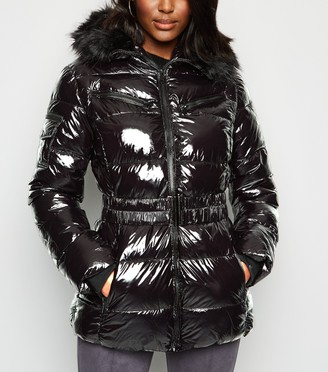 New Look Cameo Rose Patent Puffer Jacket