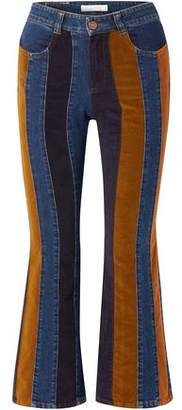 See by Chloe Corduroy-paneled High-rise Kick-flare Jeans