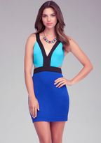 Bebe Deep V Cutout Colorblock Dress