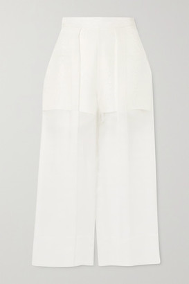 Cushnie Cropped Silk-organza And Crepe Wide-leg Pants - White