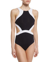 Jets Classique Contrast Cutout High-Neck One-Piece Swimsuit