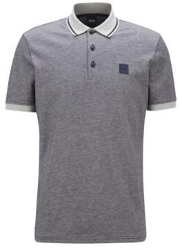 HUGO BOSS Regular Fit Polo Shirt In Melange Cotton - Dark Blue