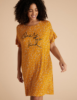 Marks and Spencer One of a Kind Slogan Floral Nightdress