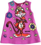 Moschino Tiger Printed Crepe De Chine Dress