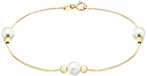 John Lewis 9ct Yellow Gold Pearl Ball Bead Snake Chain Bracelet, Gold