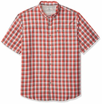G.H. Bass & Co. Men's Big & Tall Big and Tall Explorer Short Sleeve Fishing Shirt Plaid Button Pocket Grey 2X-Large