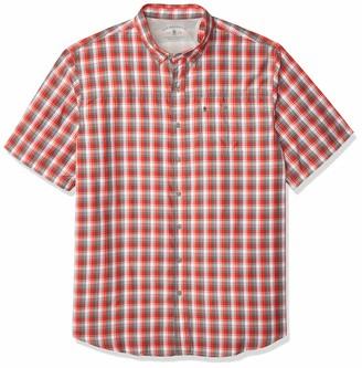 G.H. Bass & Co. Men's Big & Tall Big and Tall Explorer Short Sleeve Fishing Shirt Plaid Button Pocket Grey 4X-Large