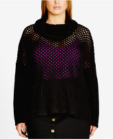 City Chic Trendy Plus Size Pointelle Sweater
