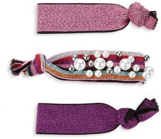 Bari Lynn Pink Rainbow 3-Piece Hair Tie Set