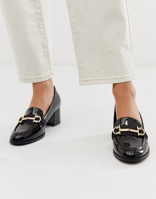 ASOS DESIGN Stirrup mid-heeled loafers in black patent