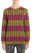 Moschino Striped Faux Cable Knit Wool Sweater