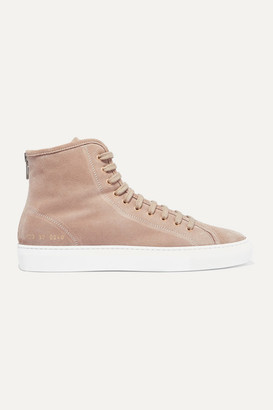 Common Projects Tournament Shearling-lined Suede High-top Sneakers - Beige