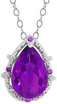 Gem Stone King 2.62 Ct Genuine Pear Shape Amethyst Gemstone 14k White Gold Pendant