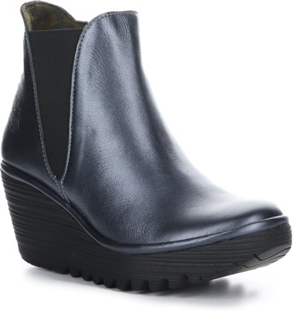 Fly London Women's Casual boots 001 - Graphite Yozo Leather Wedge Bootie - Women