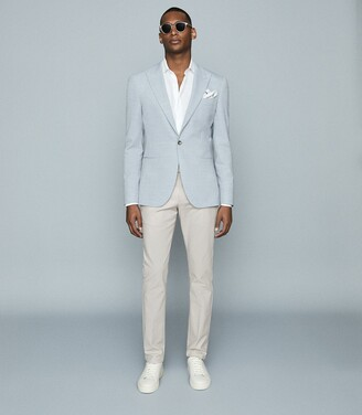 Reiss Hart - Slim-fit Basket Texture Blazer in Soft Blue